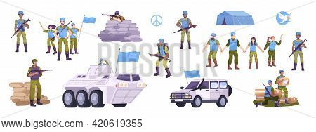 Peacekeepers Flat Icon Set With Military In Uniform And With Flags Tanks And Military Vehicles Tents