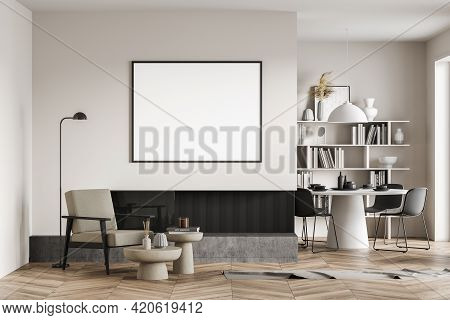 Beige Living Room Interior With Armchair And Coffee Table, Bookshelf On Background, Dining Table Wit