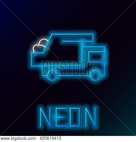 Glowing Neon Line Garbage Truck Icon Isolated On Black Background. Colorful Outline Concept. Vector