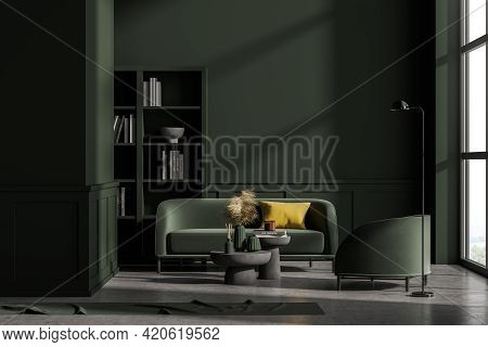 Modern Green Living Room Interior With Concrete Floor, Furniture, Table And Sofa And Armchair, Livin