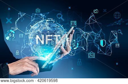 Businesswoman Hands With Electronic Device, Touching Screen With Non-fungible Token Hologram, Double
