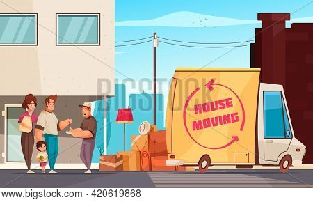 Moving Into New Apartment Family And Truck Driver Signing Consignment Note Outdoor Near Packed Belon