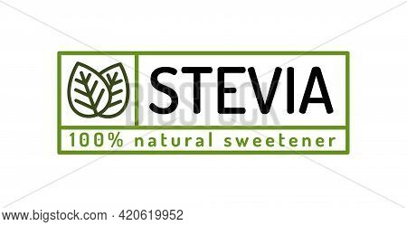 Stevia Leaves Badge Natural Sweetener Substitute Line Style. Organic Stevia Symbol Isolated On White