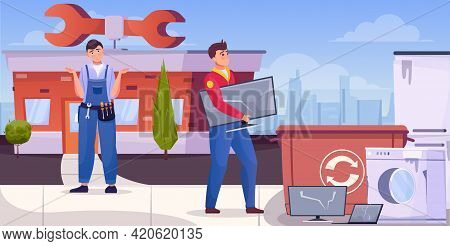 Repairmen Throwing Junk Home Technique For Recycling Flat Vector Illustration