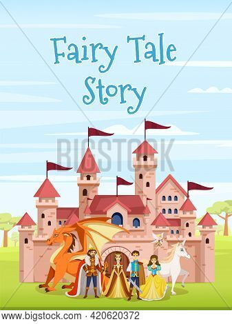 Cartoon Fairy Tale Characters Poster With Fairy Tale Story Headline And A Large Castle In The Center
