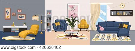 Furniture Interior Design Concept With Set Of Square Compositions With Views Of Interiors With Desig