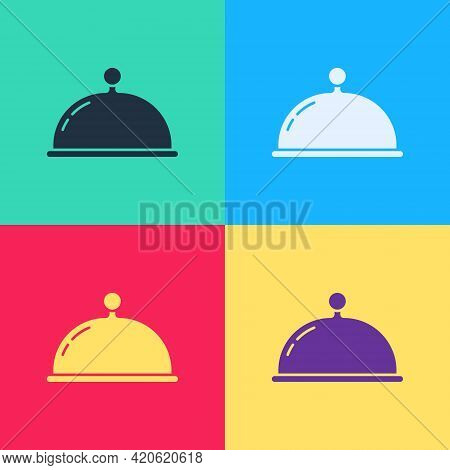 Pop Art Covered With A Tray Of Food Icon Isolated On Color Background. Tray And Lid Sign. Restaurant