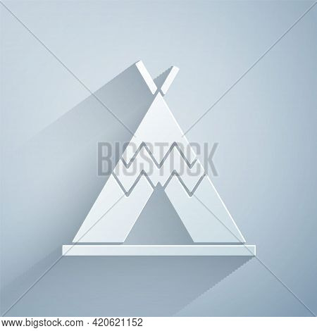 Paper Cut Traditional Indian Teepee Or Wigwam Icon Isolated On Grey Background. Indian Tent. Paper A