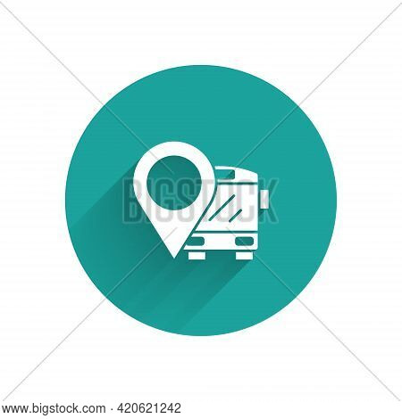 White Location With Bus Icon Isolated With Long Shadow. Transportation Concept. Bus Tour Transport S