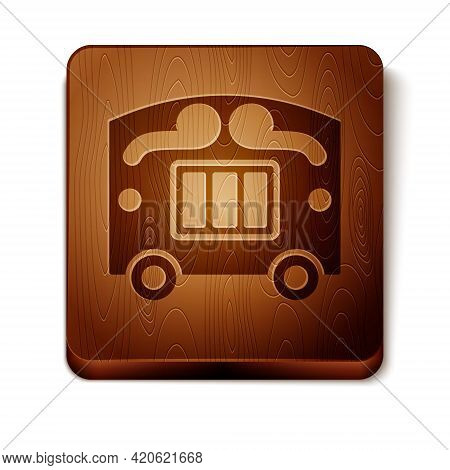 Brown Circus Wagon Icon Isolated On White Background. Circus Trailer, Wagon Wheel. Wooden Square But