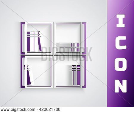 Paper Cut Shelf With Books Icon Isolated On Grey Background. Shelves Sign. Paper Art Style. Vector