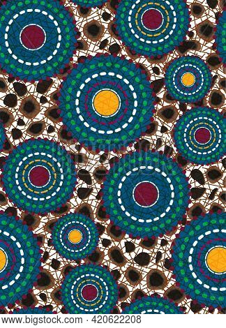 Seamless African Wax Print Fabric, Ethnic Handmade Ornament For Your Design, Animal And Tribal Motif