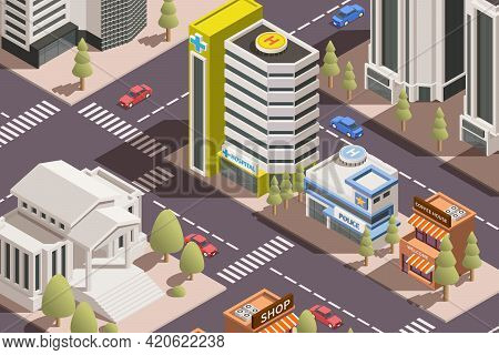 Modern City With Residential Administrative And Office Buildings Roads Transport 3d Isometric Vector