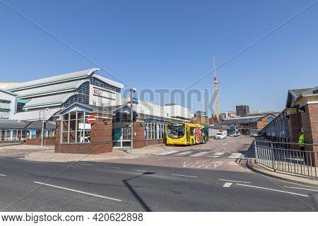 Sheffield, South Yorkshire, England - April 19 2021: The Sheffield Interchange. The City`s Main Bus