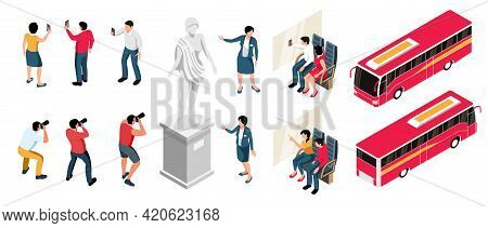 Excursion Isometric Icons Set Of Tourists Photographing Sights Guides Conducting Guided Tours And Re