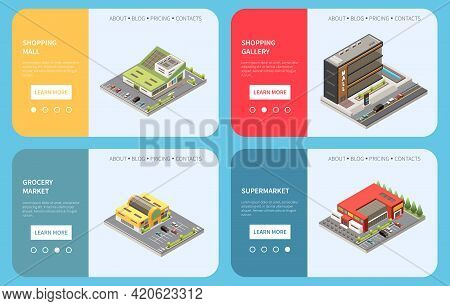 Shopping Mall Concept Set With Shopping Gallery Symbols Isometric Isolated Vector Illustration