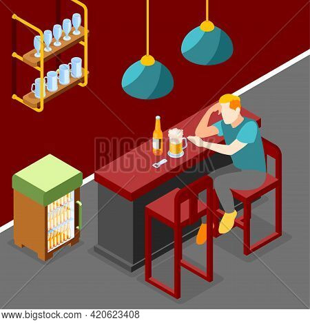 Loneliness Isometric Background With Young Man Drinking Beer In Modern Home Interior Vector Illustra
