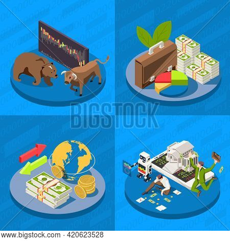 Stock Exchange Concept 4 Isometric Background Compositions Building Banknotes Top Broker Bull Bear M