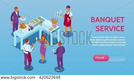Banquet Reception Service Hall Management Online Event Booking Isometric Website Page With Appetizer