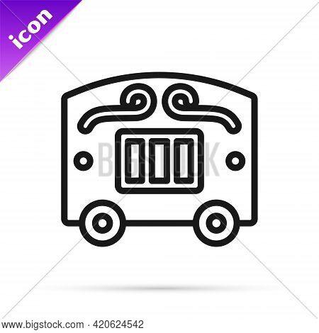 Black Line Circus Wagon Icon Isolated On White Background. Circus Trailer, Wagon Wheel. Vector