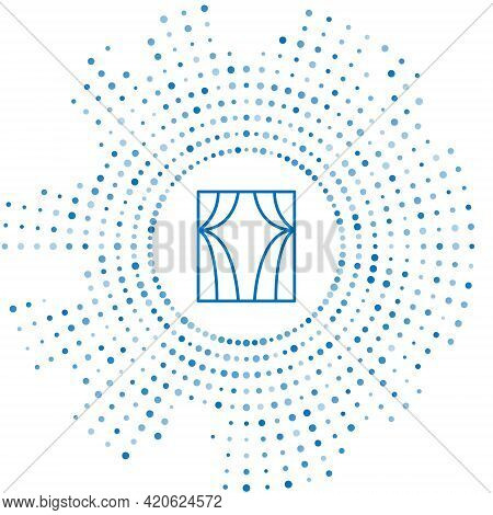 Blue Line Circus Curtain Raises Icon Isolated On White Background. For Theater Or Opera Scene Backdr