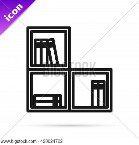 Black Line Shelf With Books Icon Isolated On White Background. Shelves Sign. Vector