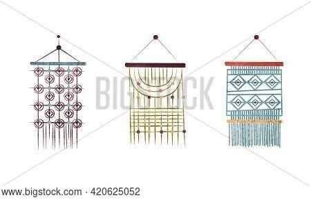 Set Of Macrame Wall Hangings Made Of Cotton Cord, Boho Style Decor Element Cartoon Vector Illustrati