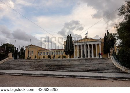 Athens, Greece - February 4, 2019: The Building Of The Zappeion In Athens In Late Afternoon In Cloud