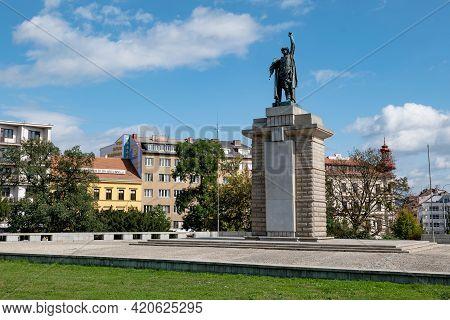 Brno, Czech Republic - September 17, 2019: Pamatnik Osvobozeni Statue As A Liberation Memorial After