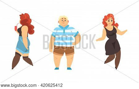 Set Of Overweight People, Happy Plump Male And Female Characters Wearing Casual Clothes, Body Positi