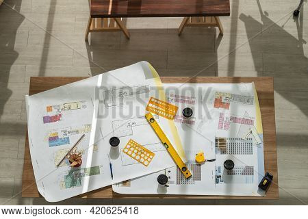 Business, Engineer, Architecture And Work Place Concept. Top View Of Architectural Building Blueprin