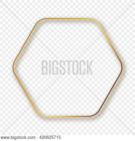 Gold Glowing Rounded Hexagon Frame With Shadow Isolated On Transparent Background. Shiny Frame With