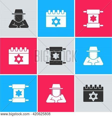 Set Orthodox Jewish Hat, Jewish Calendar And Torah Scroll Icon. Vector