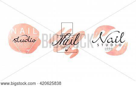 Nail Logo Original Design Set, Manicure Studio, Salon Badges And Labels Hand Drawn Vector Illustrati