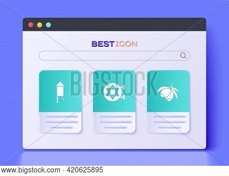 Set Jewish Synagogue, Firework Rocket And Olives Branch Icon. Vector