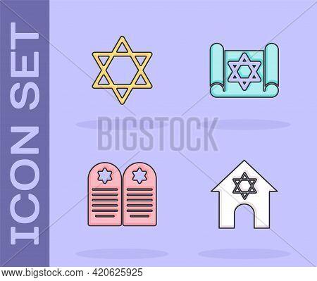 Set Jewish Synagogue, Star Of David, Tombstone With Star David And Torah Scroll Icon. Vector