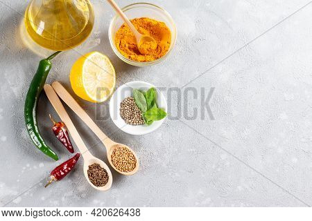 Set Of Indian Food Cooking Ingredients. Traditional Indian Assorted Spices And Herbs. Curry, Turmeri