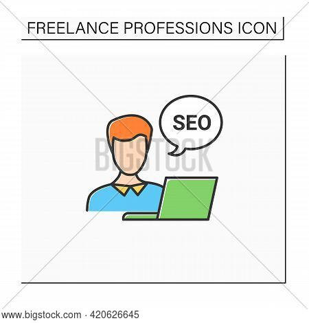Seo Specialist Color Icon. Search Engine Optimization Specialist. Performs Internal, External Site O
