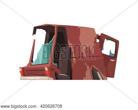 Cartoon Icon Of Abandoned Wrecked Car On White Background Vector Illustration