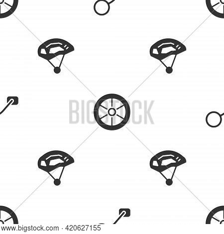 Set Bicycle Rear View Mirror, Wheel And Helmet On Seamless Pattern. Vector