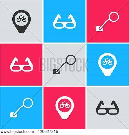 Set Location With Bicycle, Sport Cycling Sunglasses And Bicycle Rear View Mirror Icon. Vector