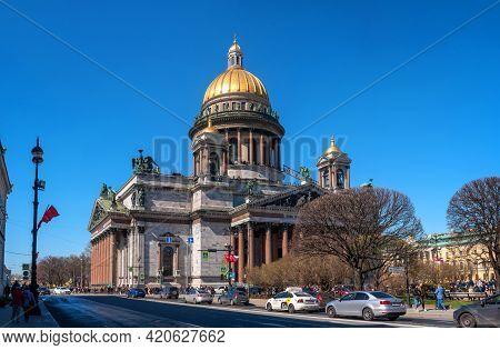 St. Petersburg, Russia - May 09, 2021: Saint Isaac's Cathedral In St. Petersburg. Russia