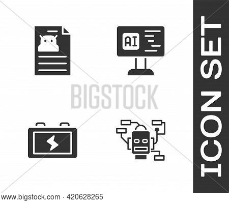 Set Robot, Technical Specification, Battery And Software Icon. Vector
