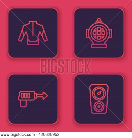Set Line Wetsuit, Fishing Harpoon, Aqualung And Gauge Scale. Blue Square Button. Vector