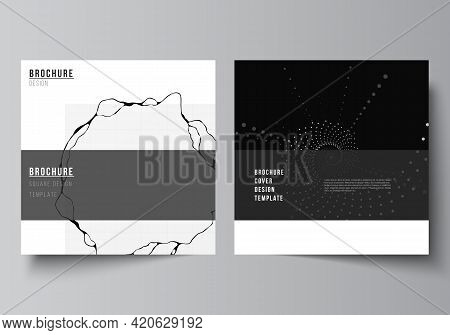 Vector Layout Of Two Square Covers Templates For Brochure, Flyer, Cover Design, Book Design, Brochur