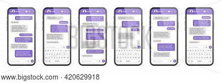 Realistic Smartphone With Messaging App. Sms Text Frame. Messenger Chat Screen With Violet Message B