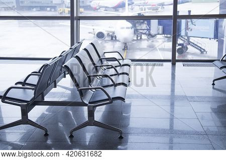 Moscow, Russia, May 11, 2021, Vnukovo Airport In Moscow. Interior And Exterior.