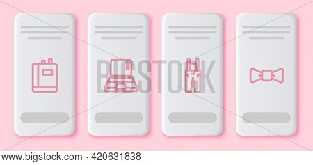 Set Line Book, Laptop, Pants With Suspenders And Bow Tie. White Rectangle Button. Vector