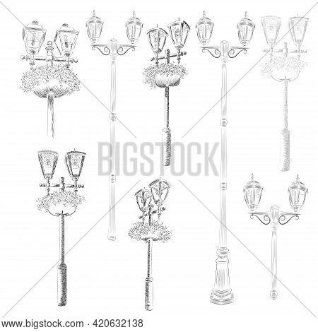 Street Clocks And A Lamp Post, Hand-drawn