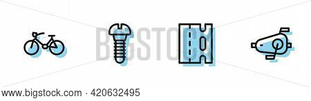 Set Line Bicycle Lane, , Metallic Screw And Pedals Icon. Vector